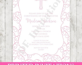 SALE Custom PRINTED Baptism, Christening, First Communion Invitation - Envelope included -  by Dancing Frog Invitations