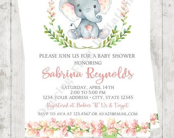 """SALE Custom Printed 4.25X5.5"""" Watercolor Girl Elephant Baby Shower Invitations, envelopes included"""