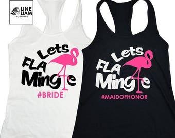 ENDS AT 12AM lets flamingle, bachelorette shirts, bridesmaid shirts, bridal party shirts, birthday shirts, bridesmaid tank tops, flamingo sh