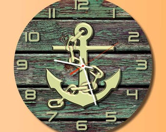 Anchor wall clock  Unique waal clock. Modern wall clock  dial plate quiet clockwork white office wall clock clock wall