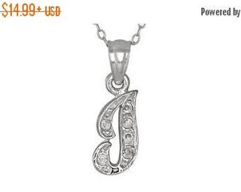 """ON SALE Sterling Silver .925 """"I"""" Initial Pendant with Cubic Zirconia Stones   Made in Usa"""