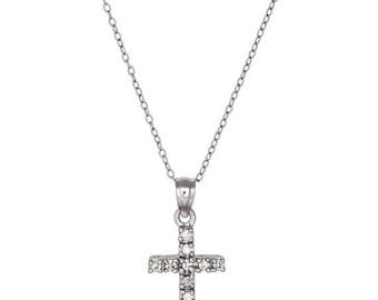 ON SALE Sterling Silver .925 Cross Charm Pendant with Cubic Zirconia (CZ) Stones   Made in Usa