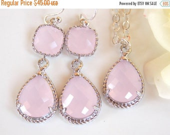 SALE Bridesmaid Jewelry Set, Ice Pink Earrings and Necklace Set, Soft Pink, Light Pink,  Pale Pink, Sterling Silver, Pendant Set, Dangle, Gi