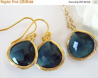 SALE Wedding Jewelry Set, Navy Blue Earrings and Necklace, Dark Blue, Montana Blue, Blue, Gold Filled, Bridesmaid Jewelry, Pendant Set,Gifts