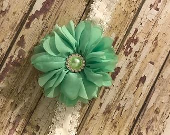 Newborn Headband, 12 Inch Stretch Headband, Green Floral Headband, Ivory Lace Headband, Baby Girl Gift, Newborn Photo, Baby Shower Gift