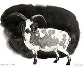 Black and White Drawing Inktober Original Artwork Unframed Artwork Jacobs Sheep Livestock Demon Goat Horror Spooky Scary Drawing Horns