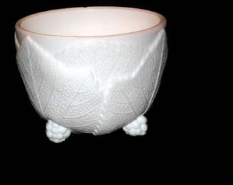 Milk Glass, Candy Dish, Bowl, Trinket Dish, Leaf Wrapped, Grape Cluster Legs, Collectible, Home Decor