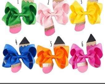 Pencil Hair Bows, Back to School Bow, Birthday Gift, Girly Bow, School Picture Hair Bow