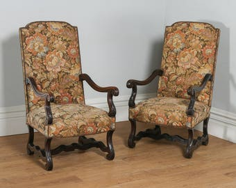 Antique Pair of French Walnut Fauteuil Upholstered Carved Hall / Open / Elbow / Library Armchairs (Circa 1880)