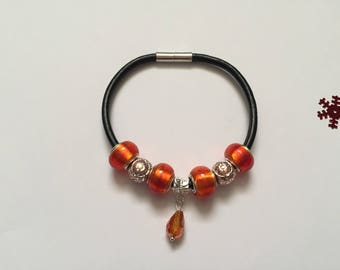 Bracelet leather charm's, orange with ref 770 Crystal pendant