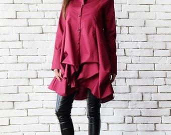 SALE Wine Asymmetric Shirt/Elegant Long Tunic/Loose Burgundy Top/Long Sleeve Button Shirt/Formal Maxi Tunic Top/Wine Extravagant Long Shirt