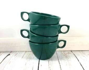 Prolon Melmac Cups,dark green,Green Melmac Cups,Prolon Ware,melamine,plastic,coffee cups,tea cups,mid century modern,melmac,diner,drink ware