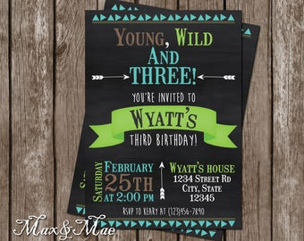Young, Wild, and Three Invitation, Three Year Old Birthday Party Invitation, Young & Wild Theme, Digital, Printable