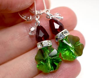 Grinch Christmas Earrings with Dangly Santa Hats – Sterling Silver & Swarovski Crystal Jewelry