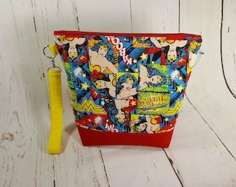 Wonder Woman (Red Canvas) Medium Knitting Project Bag, Zippered Wedge Bag, Zipper Bag, Shawl Project Bag WM0027