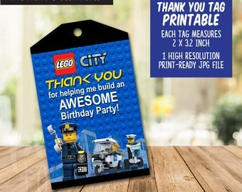 Instant download Lego City Thank You Tags, Lego City Favor Tags, Lego City Party Tags, Lego Favor Tag, Lego City Printables