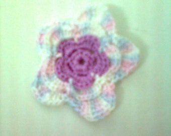 set of 10 crochet flowers hand crochet handmade cotton pink multicolor
