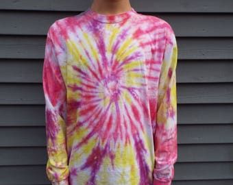 Long Sleeve Tie-Dye Shirt, Adult Medium Long-Sleeve TieDye Tee, Womens Tie Dye Tshirt, Pink Shirt, Hippie Tee, Boho Tshirt, Easter Colors
