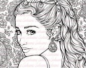 Digital stamp Fantasy portrait bollywood woman indian pattern - blank image to color line art by sakuems