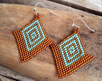 Earrings handwoven glass beads brown and turquoise blue Boho jewelry By Dodie