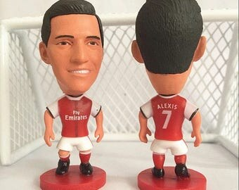 "Alexis Sanchez Soccer Football Action Figure Chile Arsenal FC Premier League Attacker 2.5"" Collectable Toy Gift Cake Topper Model Figurine"