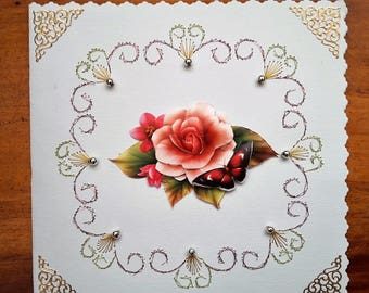 Pale pink rose - hand made 3D card