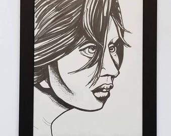 Marker Portrait Drawing --- Allison Harvard from ANTM --- 9x12 --- Black Frame