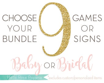 Choose Any 9 Games or Signs in my Shop! Baby Shower OR Bridal Shower Games and Signs *Sorry, Custom Games or Personalized Signs Not Included