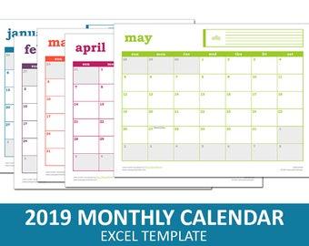 Easy Event Calendar - 2019 | Printable Excel Calendar Template | Monthly Calendar | Instant Digital Download