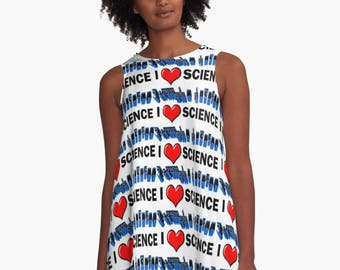 I Love Science A-Line Swing Dress Trapeze Dress XS S M L XL 2XL  Red Blue White  Woman Teen Wearable Art Clothing