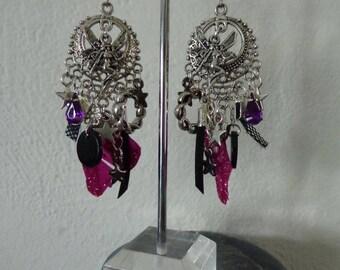 Purple Fairy earrings very light vintage 925 sterling silver