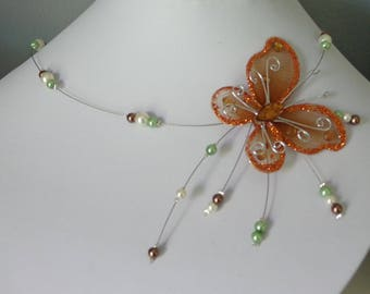 Butterfly Necklace green brown ivory yarn hypoallergenic available on wedding