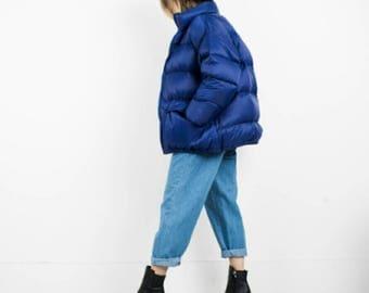 Oversized puffy coat,vintage down jacket, outerwear,overcoat,hipster,retro,M,L, grunge,winter,ski,warm,Arctic,men's,women's,goose puffer