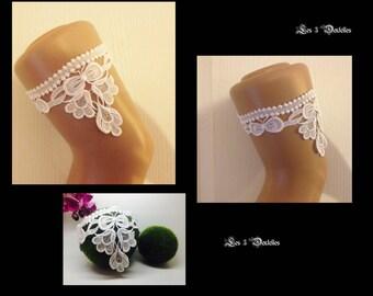 Garter wedding lace white bow custom * 3 lace *.