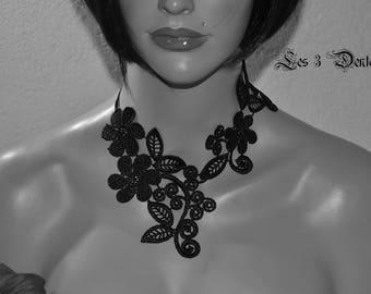 Black Lace wedding necklace * 3 lace *.