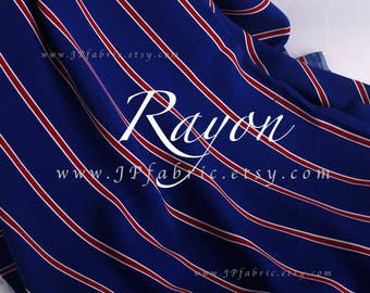 Royal blue Striped Rayon fabric by the yard