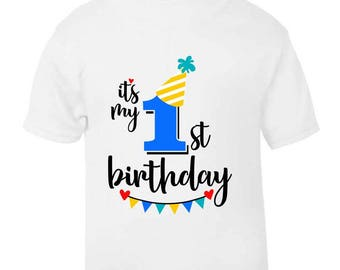It's My 1st First Birthday T-Shirt Childrens Kids T Shirt Boys Age Size Cake Smash