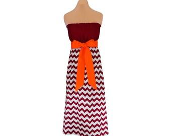 Orange + Maroon Chevron Maxi Dress