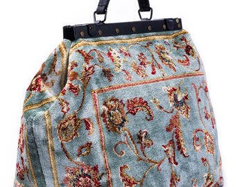 SALE SALE! Was 260 British Pounds, now 159.95 Carpet Gladstone Bag Sac-Voyage Pergola Silver - large Mary Poppins, Victorian Sac-Voyage