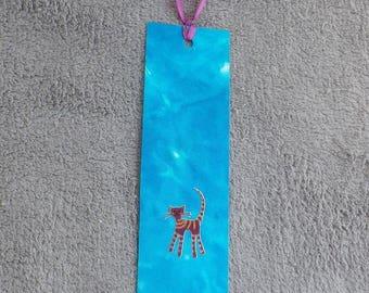 Blue marbled with kitten M122 @evysoie silk bookmark