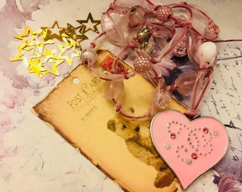 romantic pink heart necklace