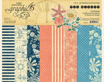 NEW!!! Graphic 45 Sun Kissed 12x12 Patterns and Solids Paper Pad SC007771