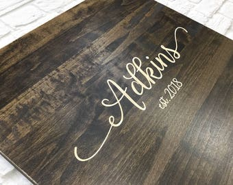 Rustic Wedding Guest Book Alternative - Rustic Wedding Decor - Guest Book Wood Sign - Wedding Guest Sign In - Last Name Sign - Wedding Gift