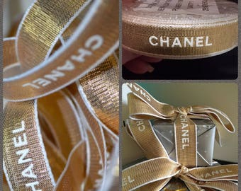 "Authentic CHANEL© Gold Ribbon By The Yard. 5/8"" Width Gold with White Signature Letter Ribbon NEW!"