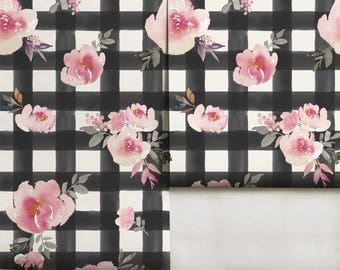 Watercolor Gingham Floral Peel 'n Stick Wallpaper Custom Lengths and FREE color revisions!