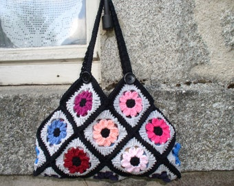 Crochet granny multicolored flowers bag & pouch