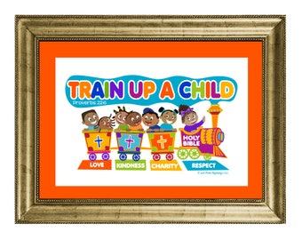 Train Up A Child - Wall Art Print Only No Frame - Proverbs 22:6 (Diverse Children)