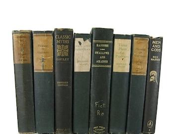 SALE SALE SALE Dark Green  Vintage  Books ,  Antique Decorative Books , Wedding Prop , Photo Prop , Green Vintage Books , Old Books