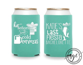 Bachelorette Can Coolers | Personalized Can Coolies | Monogram Beer Sleeves | Can Insulator | Last Fiesta Can Coolers | Made to Order Gifts