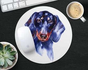 Dachshund Mouse Pad Dog Mouse Mat Fabric MousePad Round MouseMat Her Gift Watercolor MousePad Cute MouseMat Desk Accessories Office Supplies